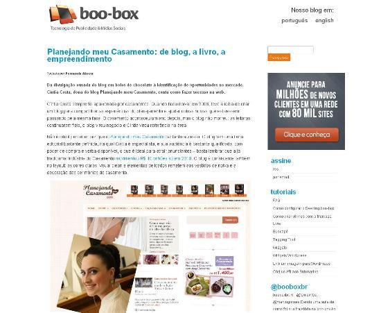 Matéria sobre o Planejando Meu Casamento no Blog Boo-box em 21 de julho de 11