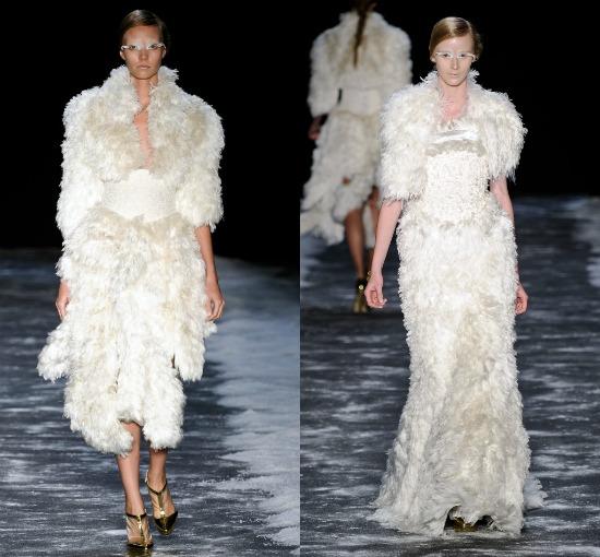 Vestidos de noiva desfile Samuel Cirnansck Inverno 2012 SPFW: mangas e peles de seda desfiada