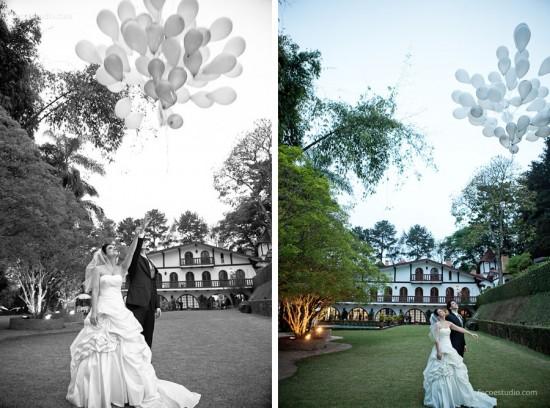 Balões brancos em casamento de Paula e Victor. Foto: Foco Estúdio.