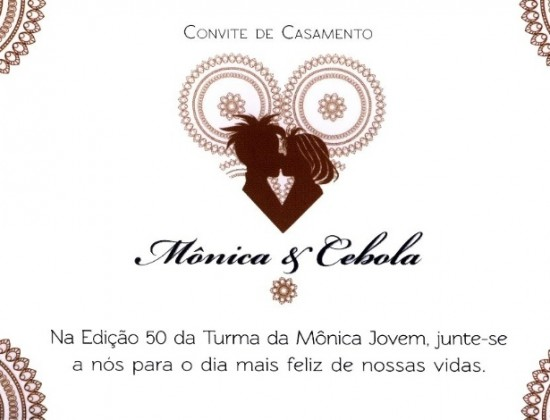 Convite de casamento da Mônica e do Cebolinha