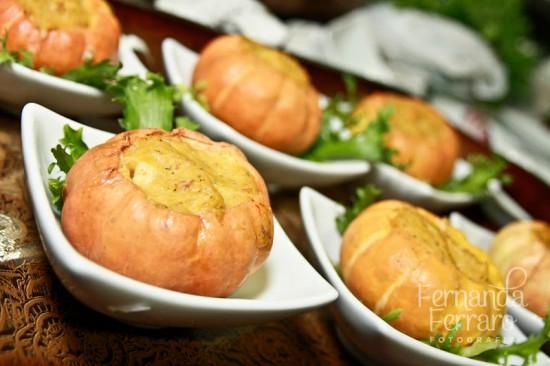 Finger foods de casamento: mini purê de abóbora. Foto: Fernanda Ferraro.