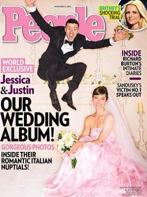 Capa da People Magazine com foto do casamento de Justin Timberlake e Jessica Biel.
