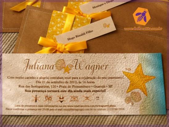 Convite de casamento com papel semente plantável (com tema praia) da Abelha Catita.