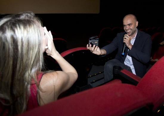 Pedido de casamento no cinema. Foto: Rodrigo Paiva.