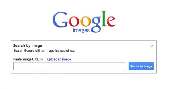 Busca de fotos pelo Google Imagens: upload ou link.