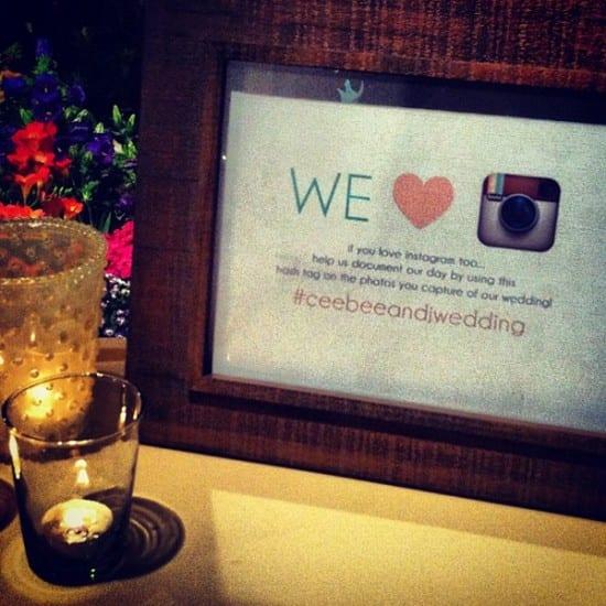 Hashtag de Instagram para casamento. Foto: Ceebee and DJ.