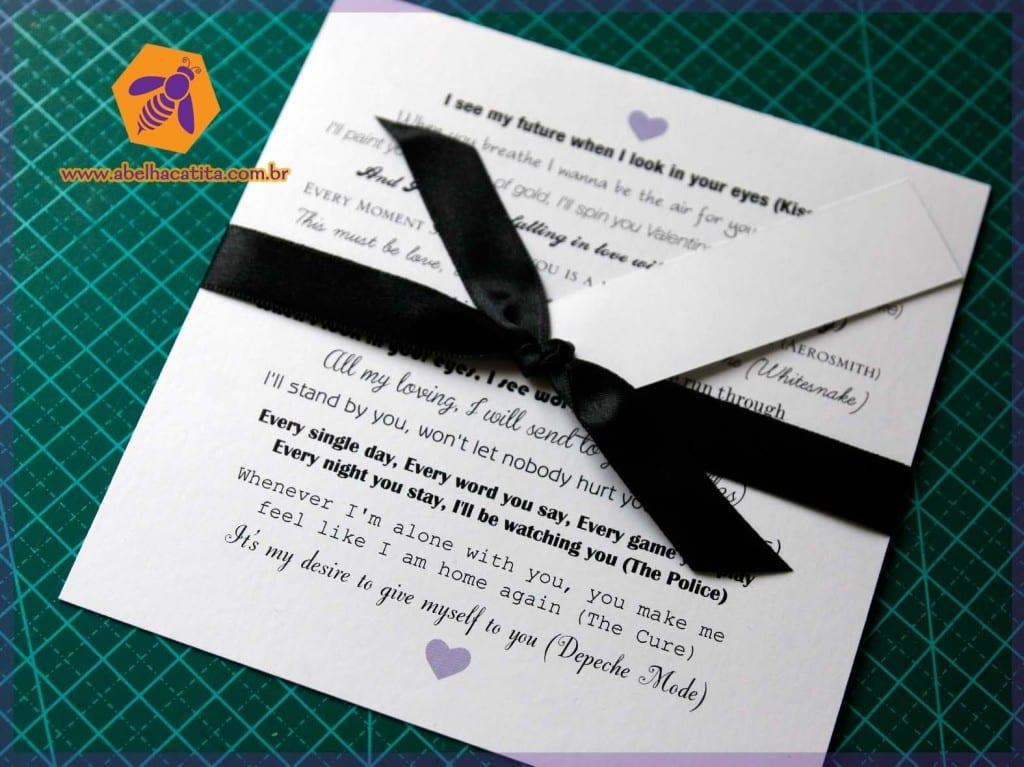 Achado Do Dia Convite De Casamento Com Frases De Músicas Do Rock E