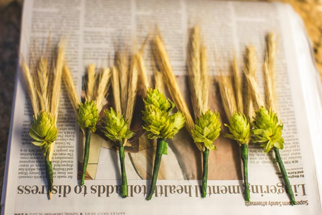 Flor de lapela diferente: butonnière de lúpulo e cevada para o noivo. Foto do casamento: Concept Photography.