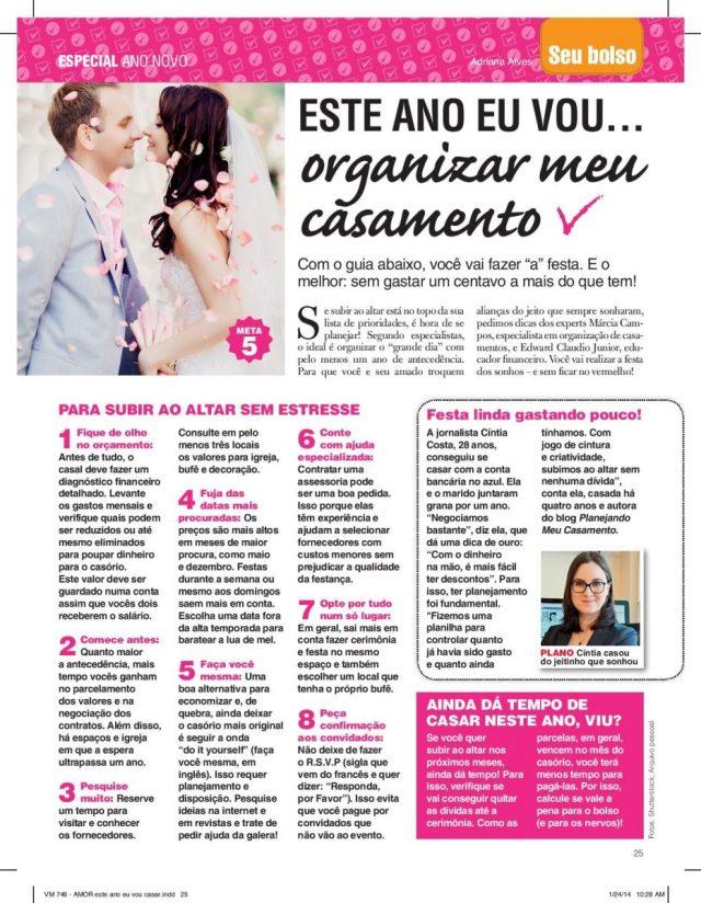 Planejando Meu Casamento na revista Viva! Mais 748 janeiro 2014