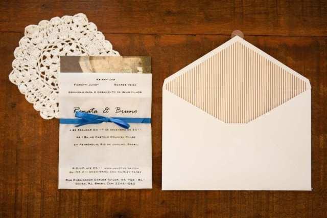Convite de casamento: silk-screen em lenço. Foto: Branco Prata.