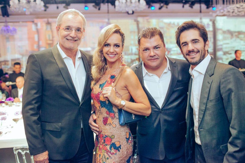 Walter Longo, presidente da Grey, Debora e Marcos Quintela, presidente da Y&R e o empresário Anuar Tacach  no casamento de Roberto Justus e Ana Paula Siebert.