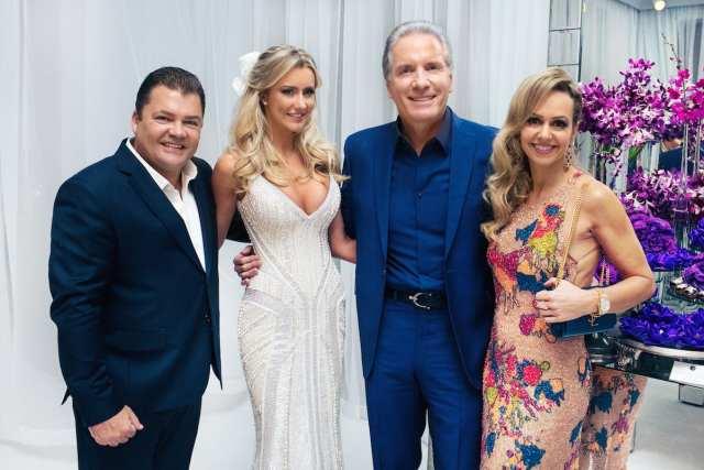 Marcos Quintela, Presidente da Y&R, e sua esposa Debora no casamento de Roberto Justus e Ana Paula Siebert.