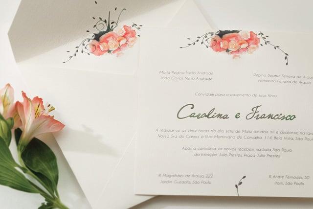 Convite de casamento em aquarela Bia Coutinho Conviteria com flores.