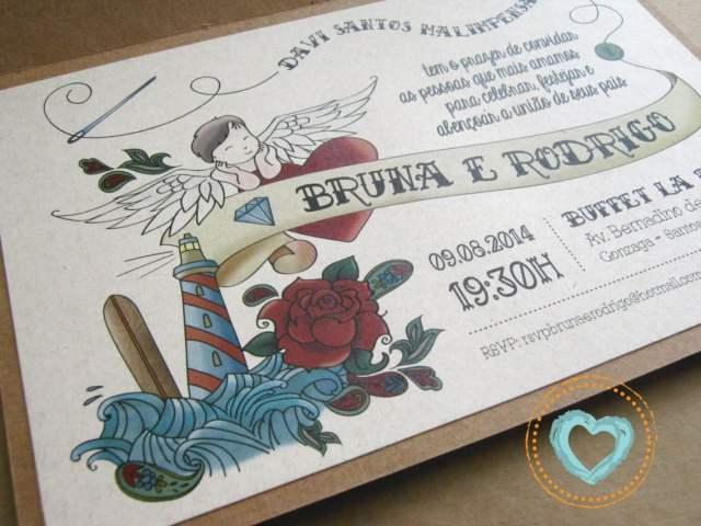 Convite de casamento com ilustração de tatuagem/tattoo. Da Catita Convites.