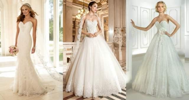 Vestidos de noiva tomara-que-caia decote coração.
