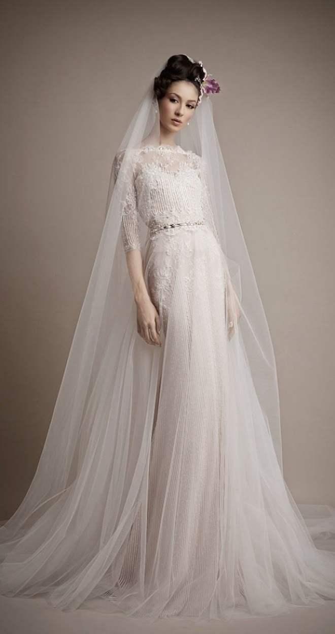 Véu de noiva longo lindo fa Ersa Atelier.