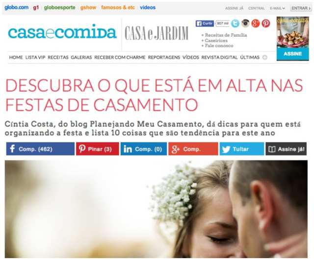 Cíntia Costa especialista em casamento. Matéria no Globo.com.