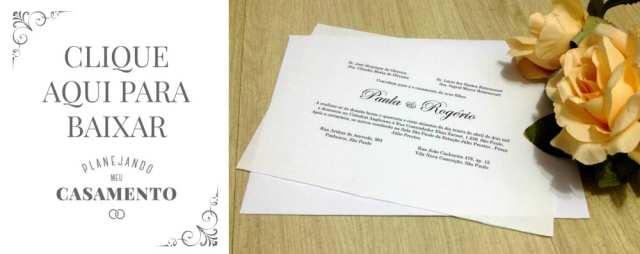 Modelo de convite de casamento tradiconal para baixar. Créditos: Planejando Meu Casamento.