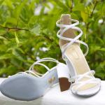 Sandália de noiva Aquazurra. Casamento Helena Bordon e Humberto Meirelles em St. Barths.