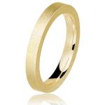 Aliança de casamento de ouro acetinado. Foto: Lojas Rubi.