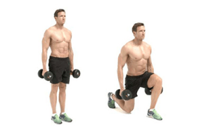 Ejercicio de fuerza en gimnasio para corredores. Estocada estática