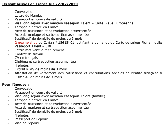 Photo of requirements needed to establish residency in france
