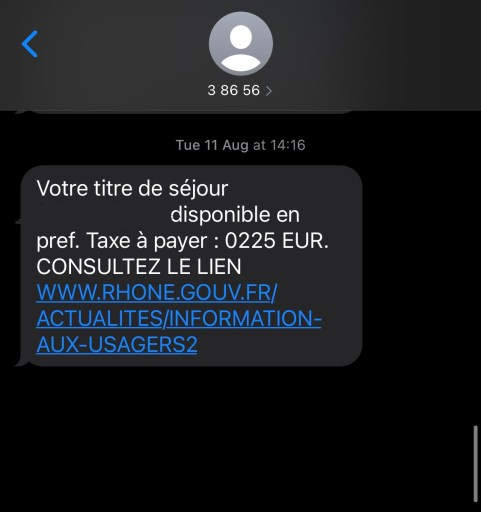 Text message received on establishing residency in france