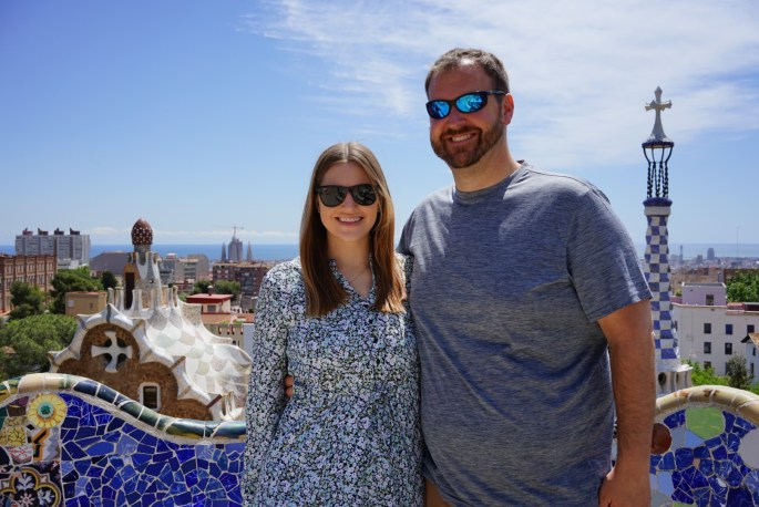couple in Park Guell Barcelona Spain