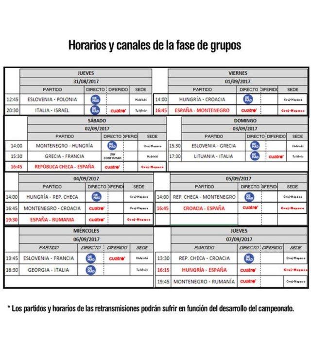 Eurobasket Calendario.Calendario Televisivo De La Primera Fase Del Eurobasket Planetacb