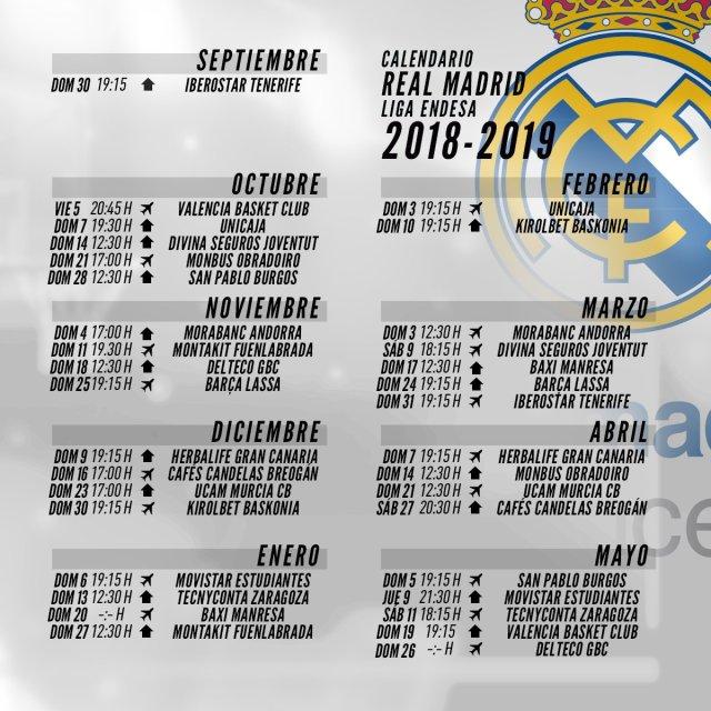 Calendario Real Madrid.El Calendario Completo Del Real Madrid En Su Fase Regular Acb