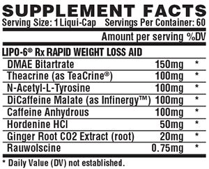 Lipo 6 Rx Ingredientes
