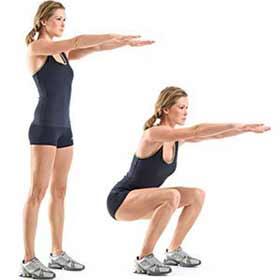 Agachamento Livre exercícios com o peso corporal para definir as pernas
