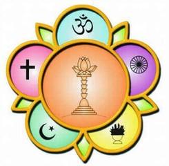 Sarvadharma com os símbolos das principais religiões do mundo
