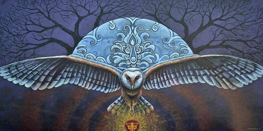 Xamanismo e voo da coruja com grandes asas
