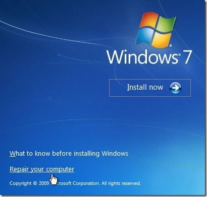 Windows 7 reparar el ordenador en caso de fallo