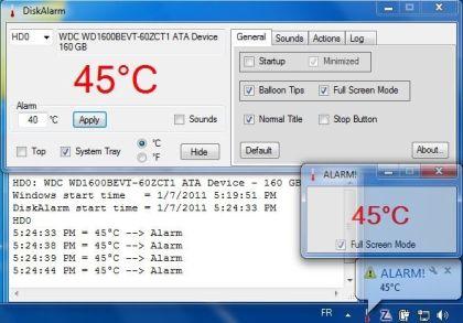 DiskAlarm, programa para monitorear la temperatura del disco duro