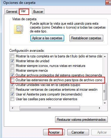Extensiones de archivos en Windows 7