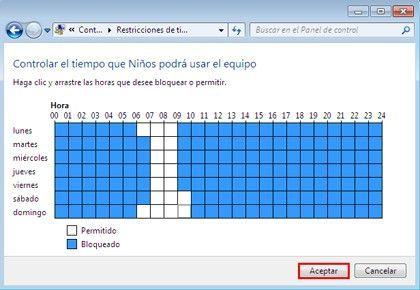 Control Parental Cuadricula Cómo limitar las horas de la sesión en Windows 7