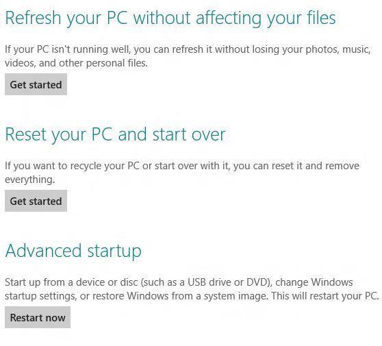 Opciones Refrescar PC y Resetear PC