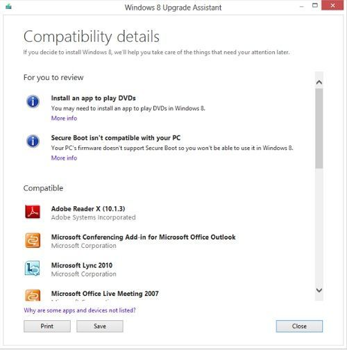 Detalles de compatibilidad Windows 8