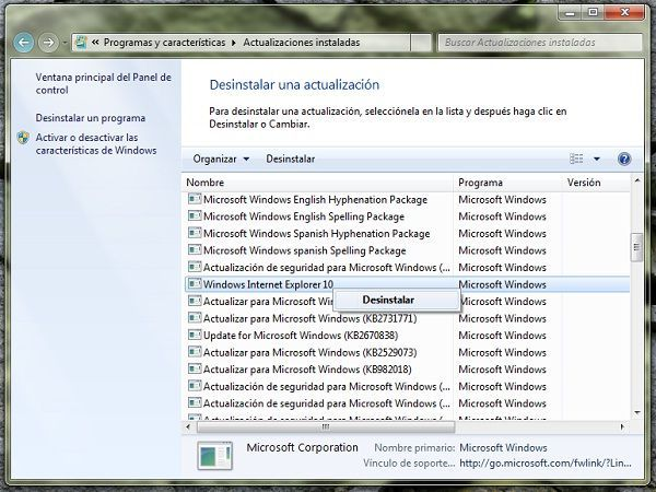 Como desinstalar Internet Explorer 10 en Windows 7 y Windows Server 2008