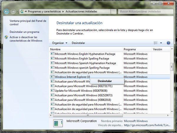 Como desinstalar Internet Explorer 10 en Windows 7 y Windows Server 2008