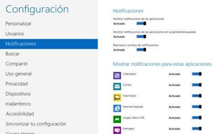 Desactivar notificaciones en Windows 8