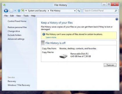 Historial de archivos Windows 8