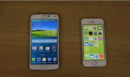 Samsung Galaxy S5 vs iPhone 5S con iOS 7.1, velocidad de internet