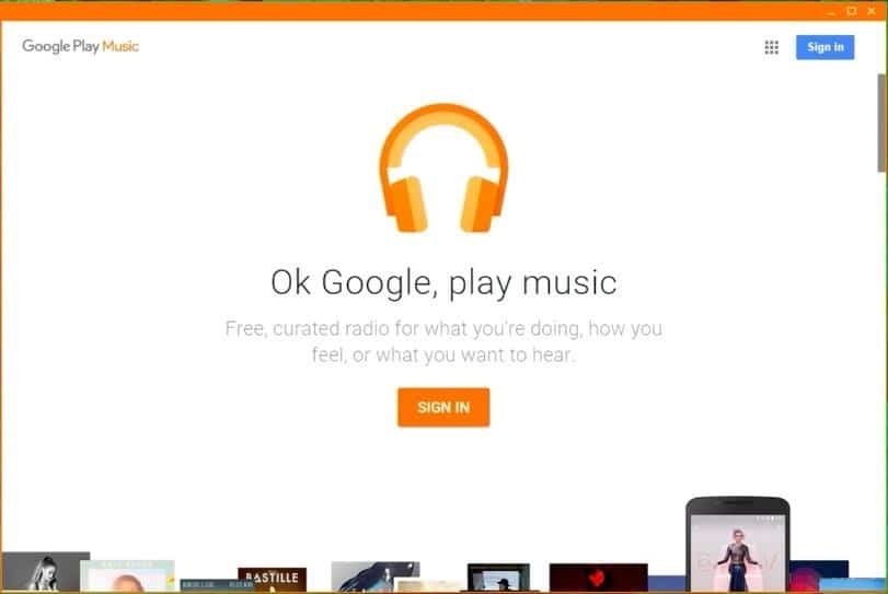 Google Play Music para Windows