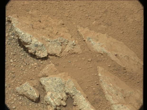 Close-up view of part of the Hottah conglomerate rock outcrop, with both embedded and loose streambed gravel. Credit: NASA / JPL-Caltech / MSSS