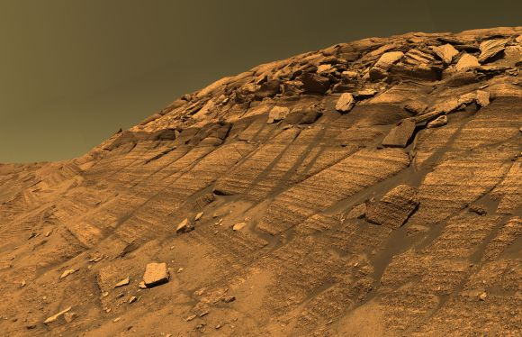Burns Cliff in Endurance crater, where Opportunity had also previously done some steep hill climbing. Photo Credit: NASA/JPL-Caltech