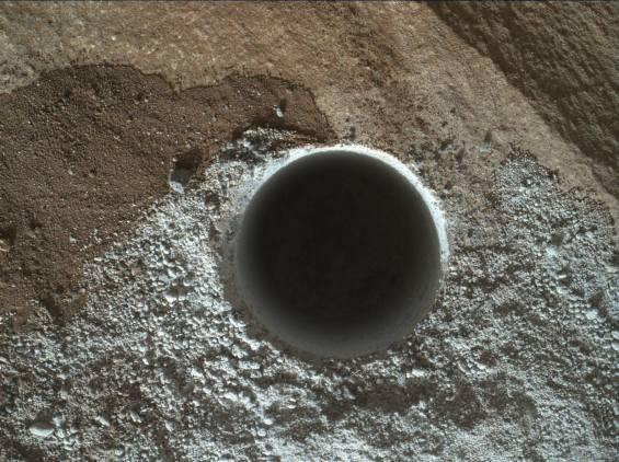Curiosity's latest drill hole, in the Lubango outcrop on the Naukluft Plateau. Photo Credit: NASA/JPL-Caltech
