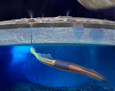 "The ""robotic squid"" mission proposal which would explore Europa's subsurface ocean. Image Credit: NASA/Cornell University/NSF"